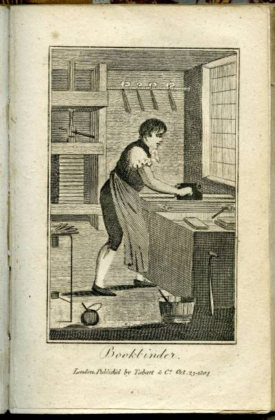 Engraving of a Bookbinder from the Book of Trades