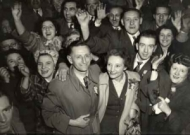 Frank Allaun celebrates being elected to Parliament, 1955