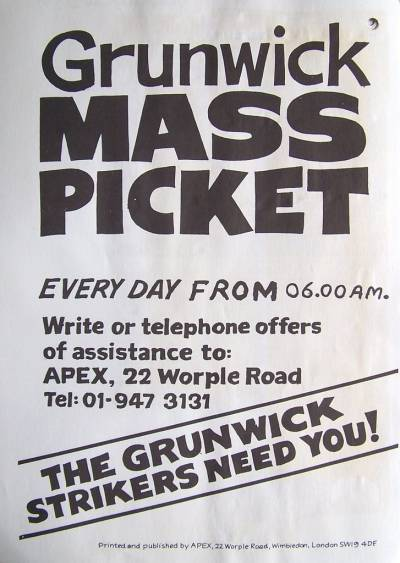 Flyer for the Grunwick mass picket organised by APEX