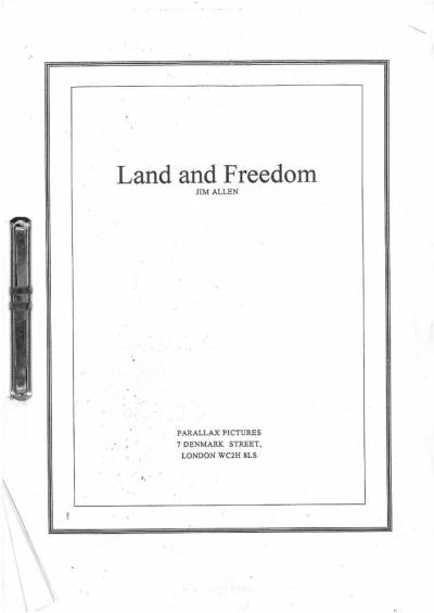 Cover of the final draft script of Land and Freedom by Jim Allen