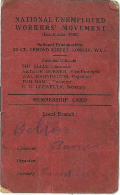 National Unemployed Workers Movement membership card