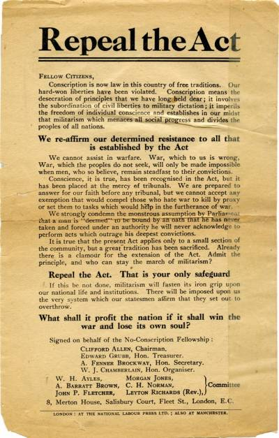 Repeal the Act - No Conscription Fellowship leaflet