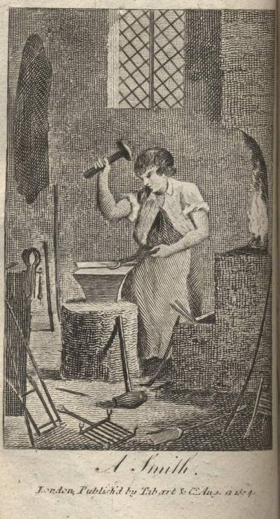 Engraving of a Smith from the Book of Trades
