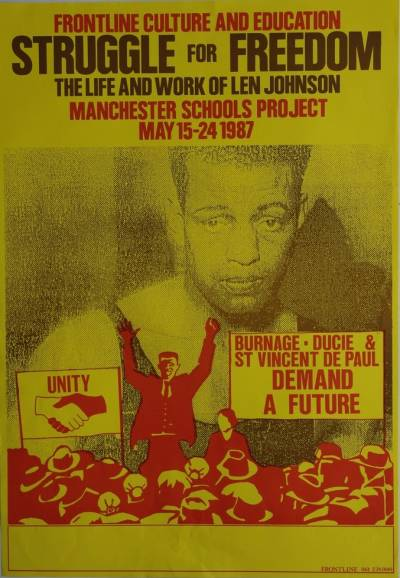 Poster advertising Struggle for Freedom: the life and work of Len Johnson