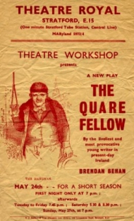 Flyer for a Theatre Workshop production of The Quare Fellow by Brendan Behan
