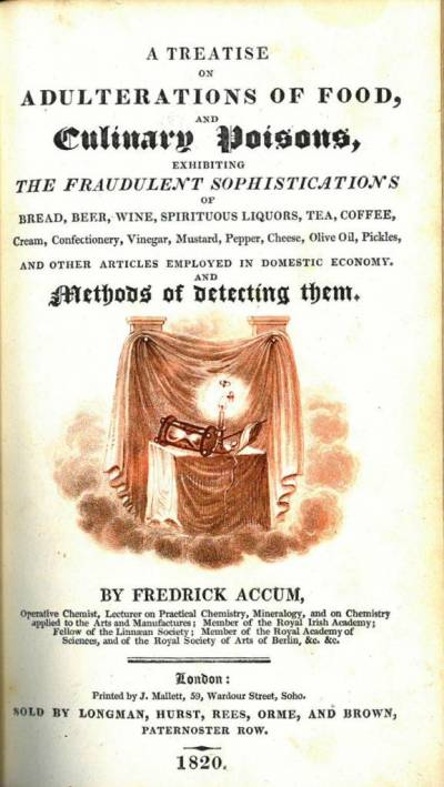 Title page of Treatise on the the adulteration of food