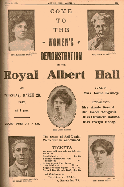 Votes for Women call to demo 1912